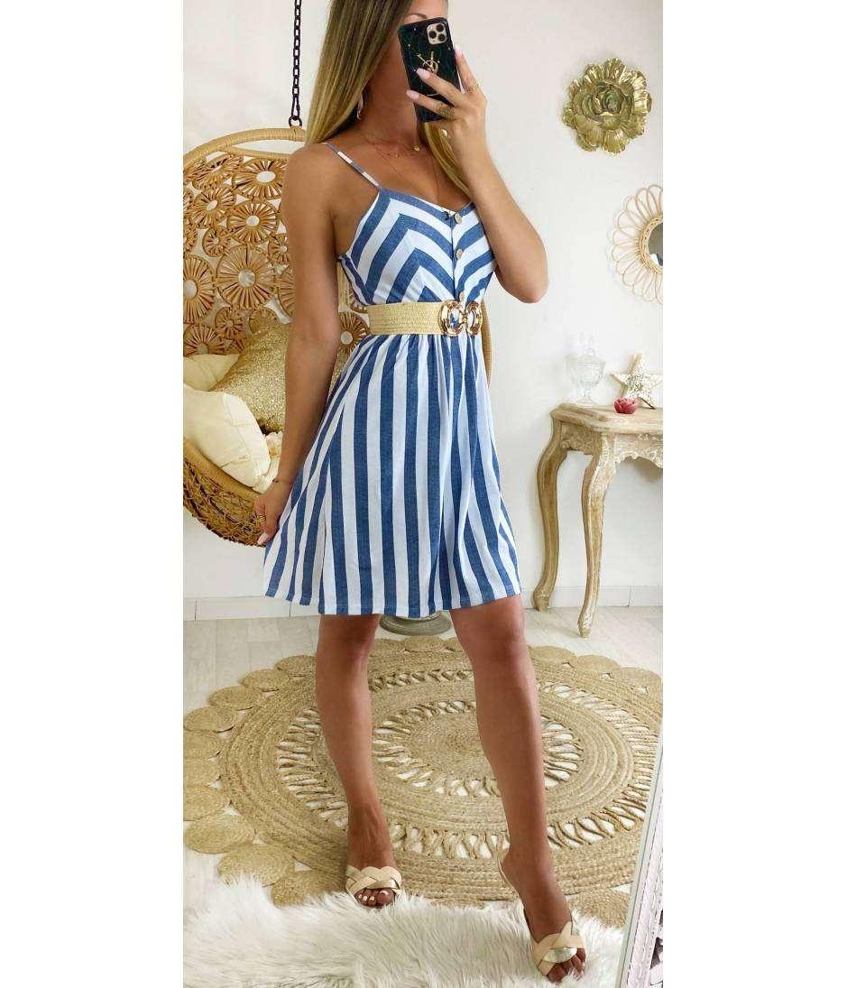 "Ma jolie robe blanc bleu ""boutonnée et rayée"""