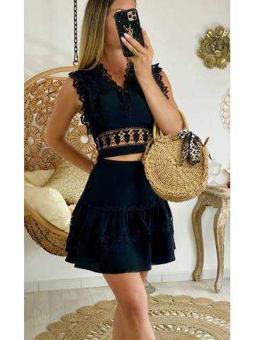 Ma jolie jupe black & broderies