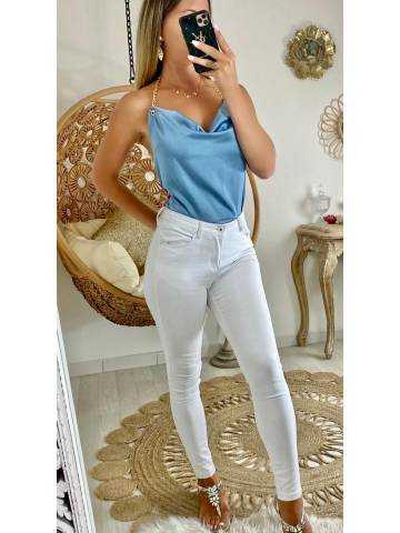 """Mon petit top bleu jeans satiné """"jolie chaîne"""""""