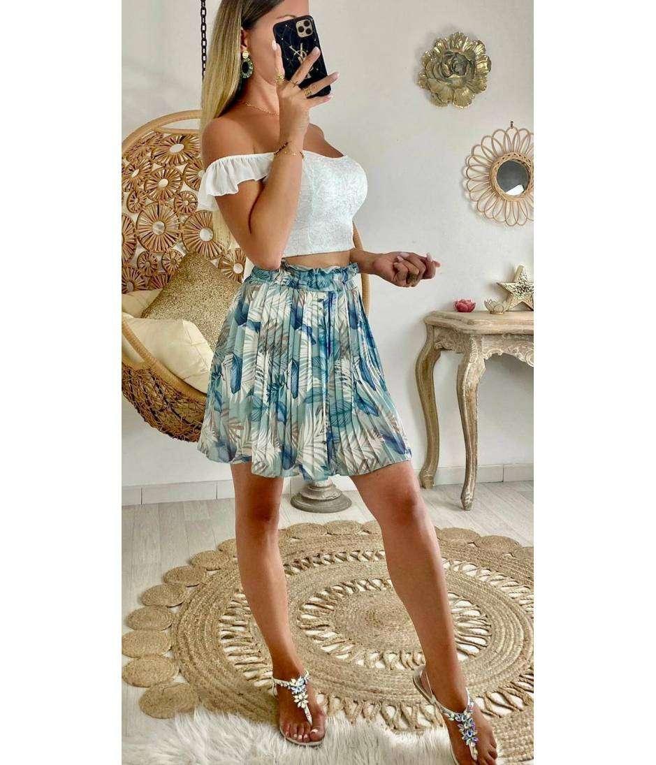 """Ma  jupe bleue plissée """"petites feuilles"""""""
