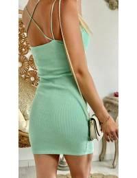 Ma petite robe verte côtelé et dos croisé