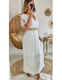 Ma superbe robe longue blanche doublée et buste dentelle