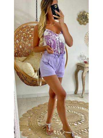 """Mon short violet """"taille haute et boutonné"""""""