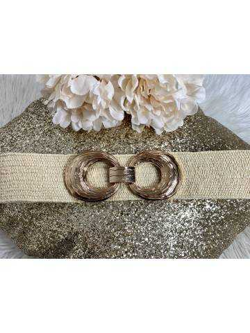 """ceinture élastique beige """"boucle so gold"""""""