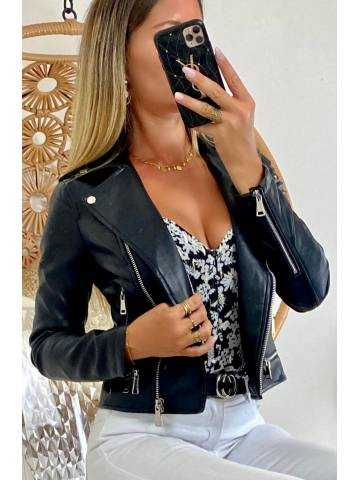 Mon perfecto noir style cuir & zip