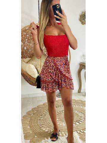 Ma jupe porte feuille rouge imprimé fleuri