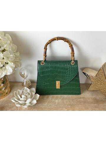 Mon petit sac en cuir vert et bambou