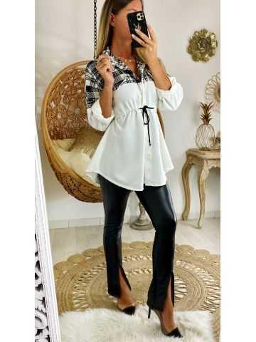 Ma tunique chemisier blanche et buste tweed