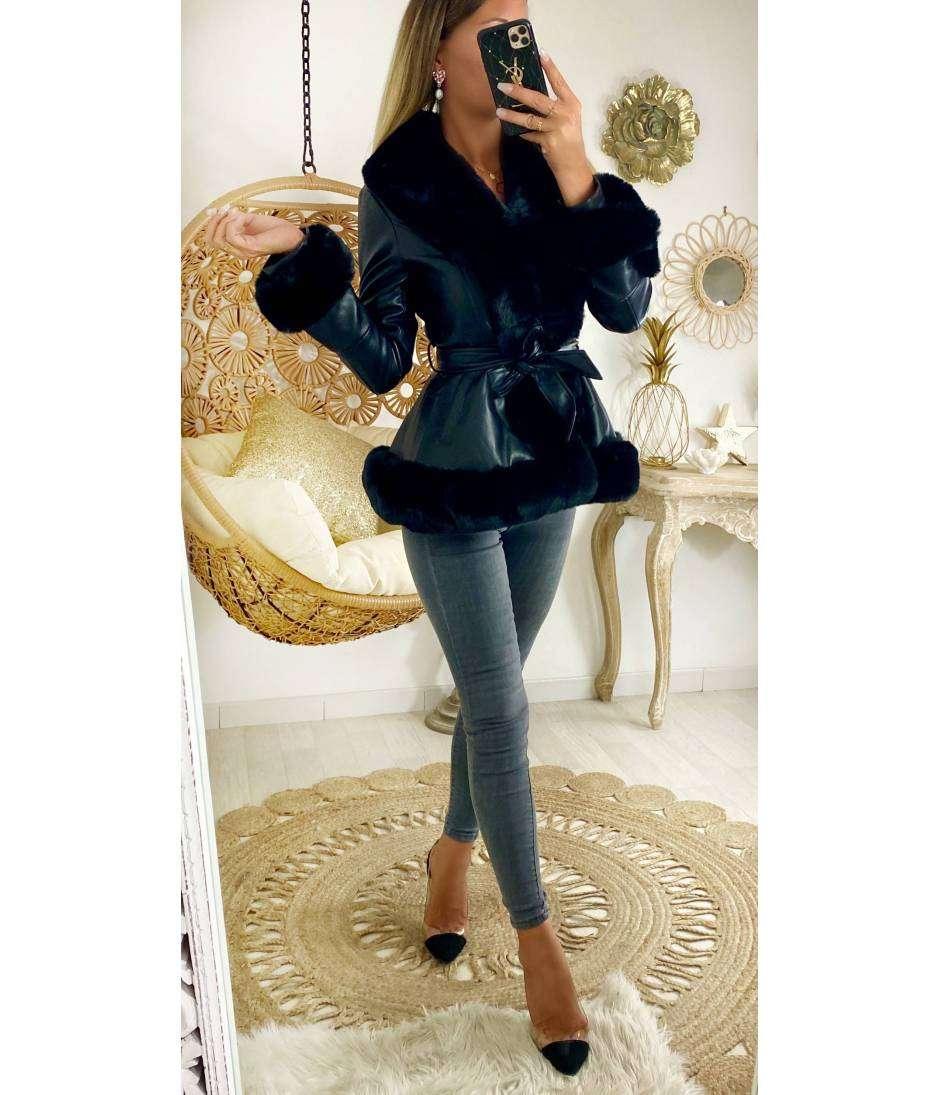 Manteau court black cuir & style fourrure
