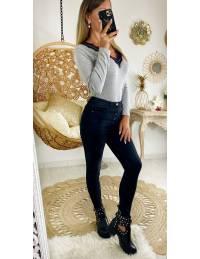 """Mon Jeans gris délavé taille haute """"boutonné"""" 2"""