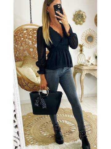 """Mon jolie blouse noire cache coeur """"plumetis """""""