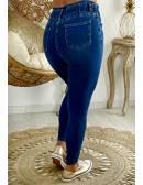 """Mon Jeans bleu taille haute """"boutonné""""taille élastiquée"""