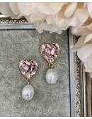 """Boucles d'oreille rose et perles  """"Heart Princesse"""""""""""