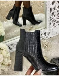 "Mes bottines à talon ""black & croco"""