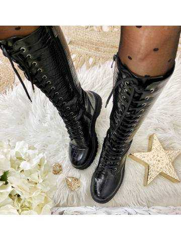 """Mes bottes à lacets  black """"style croco"""""""