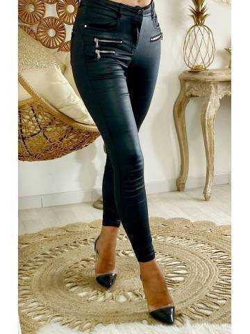 """Mon pantalon noir  style cuir """"taille haute"""""""