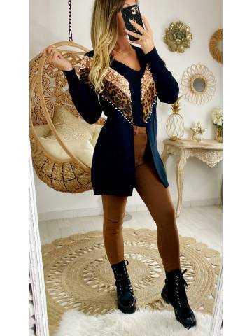 "Mon superbe gilet long ""black et sequins gold"""