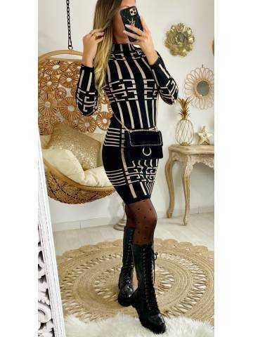"Ma jolie robe en maille noire et beige  ""GRAFIC"""