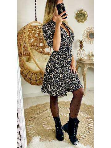 """Ma jolie robe noire  et beige"""" imprimée et  plissée"""""""