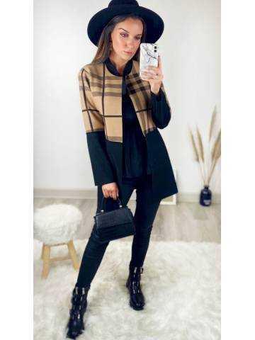 Ma veste mi-longue caramel/noir col droit bicolore à carreaux