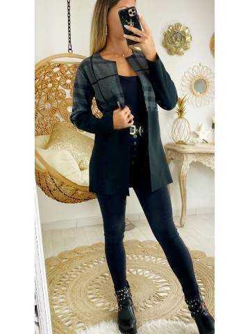 """Mon manteau en lainage  gris bicolore """"col droit"""""""