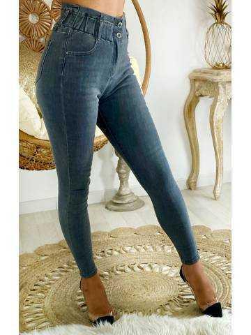 """Mon Jeans grey taille haute """"boutonné""""taille élastiquée"""