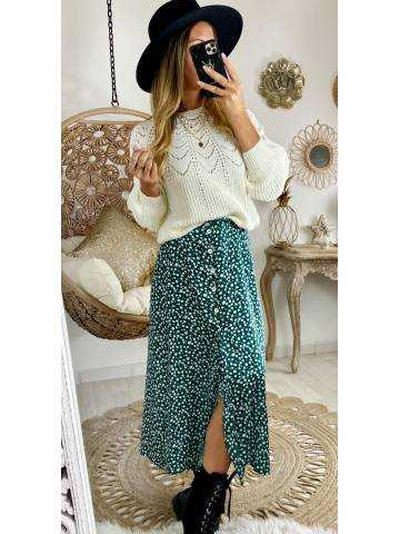 Ma superbe jupe verte mi-longue fendue et flowers