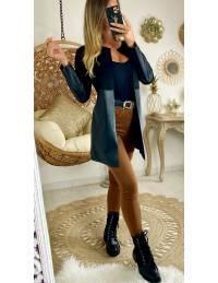 """Veste black """"style daim & cuir """""""