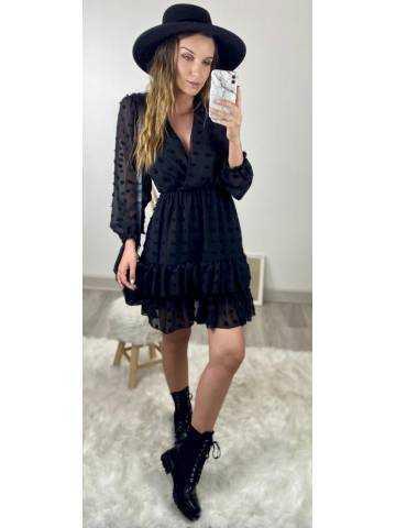 "Ma jolie robe black ""pompons et volants"""