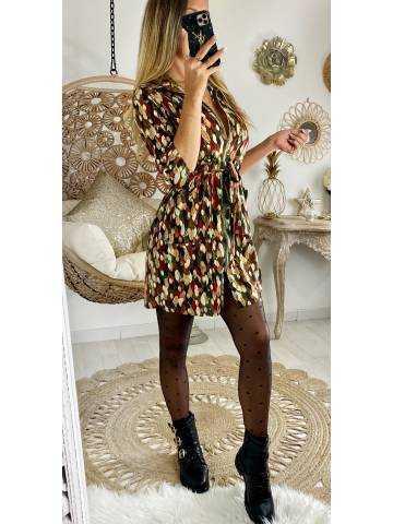 """Ma jolie robe noire imprimée et zippée """"Gold & Leaf"""""""