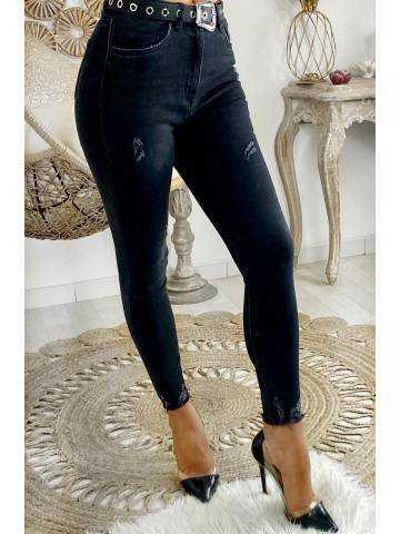 """Mon Jeans noir délavé taille haute """"destroy"""""""