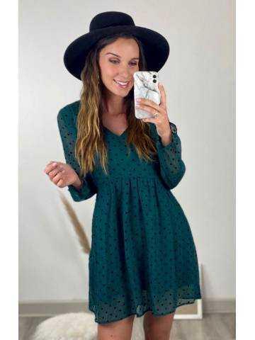 Ma jolie robe ample verte à pois noirs et volants