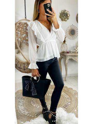 """Ma blouse blanche plumetis """"col à nouer"""""""