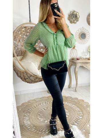 "Ma superbe blouse vert clair et  touches ""Gold"""