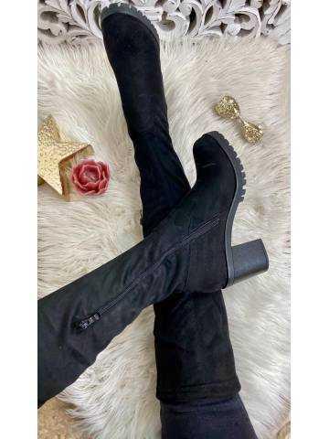 Mes cuissardes black style daim et talon cranté