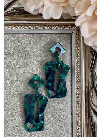 Boucles d'oreille green marble