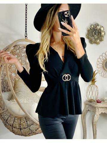 """Ma blouse noire """"cache coeur et manches bouffantes """""""