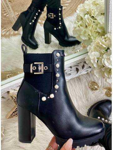 Mes jolie bottines à talon black & pearls