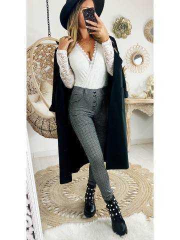 """Mon pantalon noir à carreaux """"taille élastiquée et boutonnée """""""