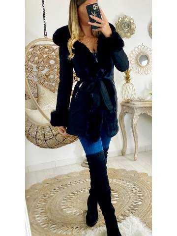 """Mon superbe manteau black """"style daim et fourrure """""""