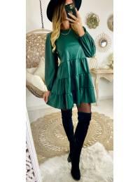 Ma superbe robe verte style cuir et volants