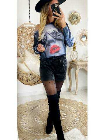 "Mon pull loose gris ""lips """