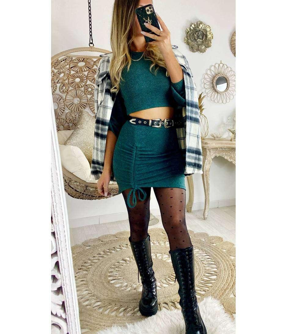 Mon ensemble Vert émeraude  jupe et crop top