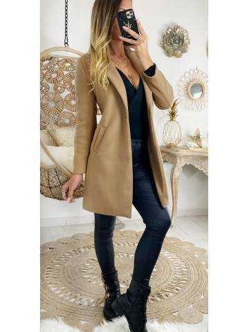 """Mon manteau en lainage """"caramel  boutonné"""""""