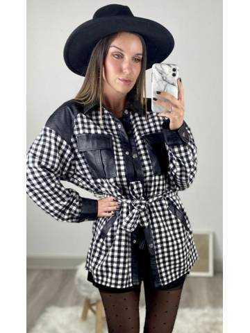 """Chemise  loose à carreaux noire et blanche """"style cuir"""""""