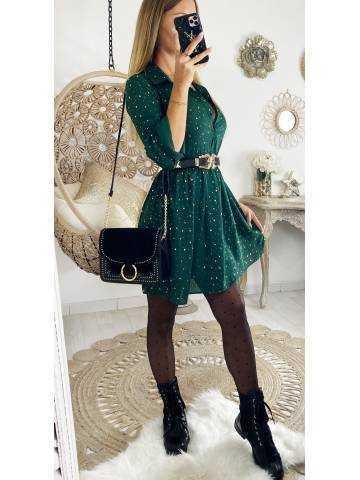 """Ma jolie robe ample vert foncé  et imprimée """"Gold """""""