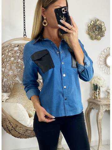 """Ma chemise en jeans souple """"touch cuir """""""