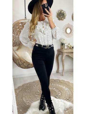 Ma blouse blanche à pois noirs et volants
