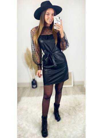 "Ma robe black style cuir & plumetis  ""ceinturée"""