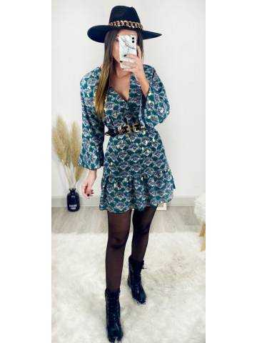 """Ma jolie robe ample imprimée """"green & touch gold"""""""